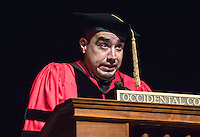 The Linda and Tod White Teaching Prize recipient, sociology professor Richard Mora. Occidental College welcomes incoming first-year students during Convocation, the formal gathering that marks the beginning of the academic year, August 27, 2014 in Thorne Hall. (Photo by Marc Campos, Occidental College Photographer)