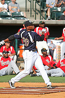Asheville Tourists first baseman Harold Riggins #27 representing the Southern division during the home run derby at the South Atlantic League All-Star game held at the Joseph P. Riley Jr.Ballpark in Charleston, South Carolina on June 19th, 2012. The Northern division defeated the Southern division by the score of 3-2. (Robert Gurganus/Four Seam Images)