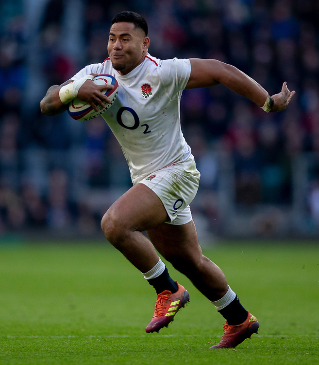 England's Manu Tuilagi <br /> <br /> Photographer Bob Bradford/CameraSport<br /> <br /> Guinness Six Nations Championship - England v France - Sunday 10th February 2019 - Twickenham Stadium - London<br /> <br /> World Copyright &copy; 2019 CameraSport. All rights reserved. 43 Linden Ave. Countesthorpe. Leicester. England. LE8 5PG - Tel: +44 (0) 116 277 4147 - admin@camerasport.com - www.camerasport.com