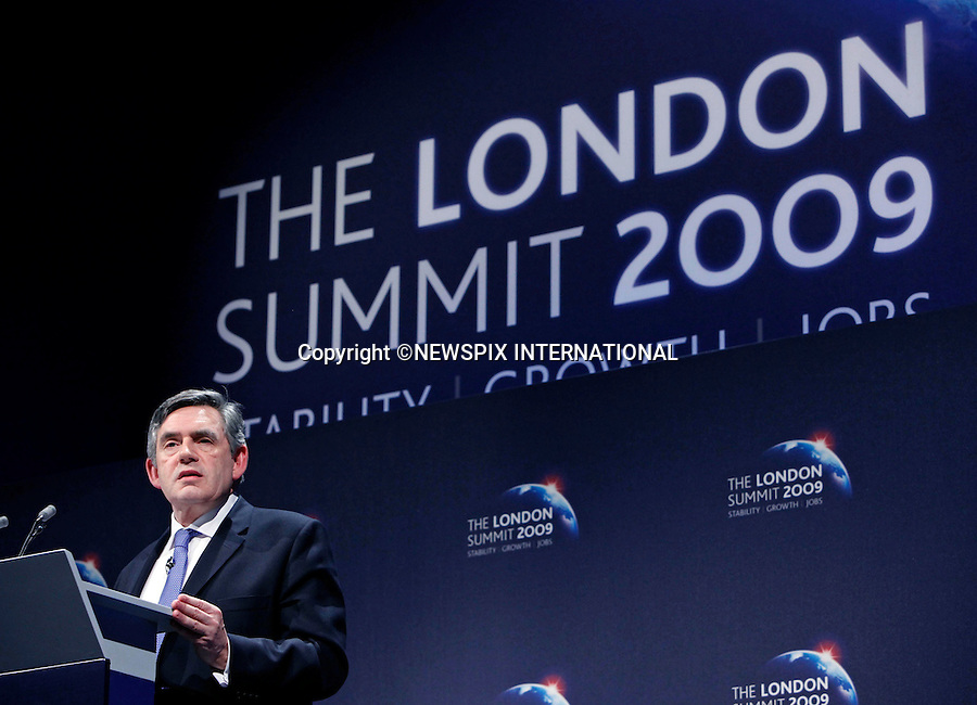 "PRIME MINISTER GORDON BROWN.gives a press conference at the end of the G20 Summit, Excel Centre, London_02/04/2009.Photo: Newspix International..**ALL FEES PAYABLE TO: ""NEWSPIX INTERNATIONAL""**..PHOTO CREDIT MANDATORY!!: NEWSPIX INTERNATIONAL(Failure to credit will incur a surcharge of 100% of reproduction fees)..IMMEDIATE CONFIRMATION OF USAGE REQUIRED:.Newspix International, 31 Chinnery Hill, Bishop's Stortford, ENGLAND CM23 3PS.Tel:+441279 324672  ; Fax: +441279656877.Mobile:  0777568 1153.e-mail: info@newspixinternational.co.uk"