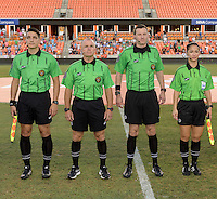 Houston, TX - Sunday June 19, 2016: Nick Uranga, Leszek Stalmach, Matthew Franz, Deleana Quan prior to a regular season National Women's Soccer League (NWSL) match between the Houston Dash and FC Kansas City at BBVA Compass Stadium.
