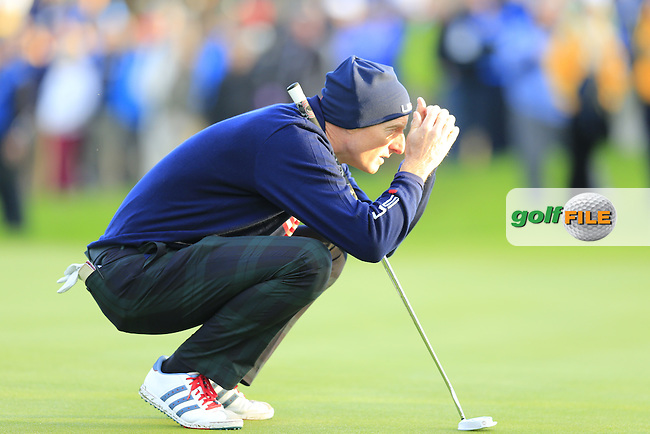 Jim Furyk (USA) lines up his putt on the 1st green during Saturday Mornings Fourball Matches between Europe's Lee Westwood and Jamie Donaldson and USA's Hunter Mahan and Jim Furyk of the Ryder Cup 2014 played on the PGA Centenary Course at the Gleneagles Hotel, Auchterarder, Scotland.: Picture Eoin Clarke, www.golffile.ie : 27th September 2014
