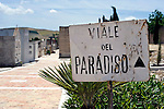 "The only thing in Gibellina that survived the 1968 quake was the cemetery, which is called ""Paradise Road"" and marks the entrance to the town in the northwestern part of Sicily, Italy. The village remains as it was, while a new, ultra-modernist town was constructed for surviving residents 10 km away."