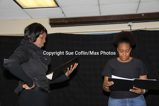 """Ahn Andre & Tanashia Harrington are a part of the cast of """"To Do List"""" at Grandparents Around the World, new play """"To Do List"""" play reading on December 7, 2013 at the Salvation Army Harlem Corps, New York, New York.  (Photo by Sue Coflin/Max Photos)"""