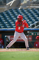 Washington Nationals Leandro Emiliani (8) at bat during an Instructional League game against the Miami Marlins on September 25, 2019 at Roger Dean Chevrolet Stadium in Jupiter, Florida.  (Mike Janes/Four Seam Images)