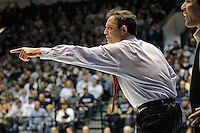 STATE COLLEGE, PA - FEBRUARY 16: Head coach John Smith of the Oklahoma State Cowboys questions a referee's call during a match against of the Penn State Nittany Lions on February 16, 2014 at Rec Hall on the campus of Penn State University in State College, Pennsylvania. Penn State won 23-12. (Photo by Hunter Martin/Getty Images) *** Local Caption *** John Smith