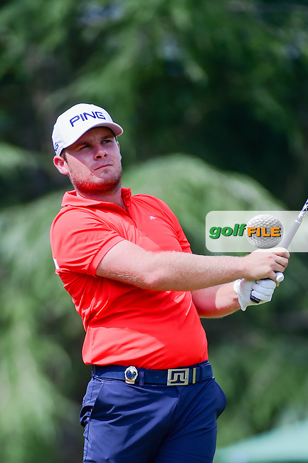 Tyrell Hatton (ENG) watches his tee shot on 9 during Friday's round 2 of the PGA Championship at the Quail Hollow Club in Charlotte, North Carolina. 8/11/2017.<br /> Picture: Golffile | Ken Murray<br /> <br /> <br /> All photo usage must carry mandatory copyright credit (&copy; Golffile | Ken Murray)