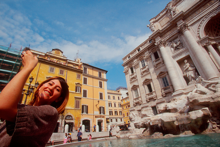 Rome, Italy, Trevi Fountain, Fontana di Trevi, Tossing a coin over your shoulder insures a return to Rome, Europe,.