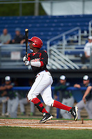 Batavia Muckdogs outfielder Galvi Moscat (27) at bat during the first game of a doubleheader against the Vermont Lake Monsters August 11, 2015 at Dwyer Stadium in Batavia, New York.  Batavia defeated Vermont 6-0.  (Mike Janes/Four Seam Images)