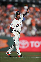 SAN FRANCISCO, CA - SEPTEMBER 29:  Third base coach Tim Flannery #1 of the San Francisco Giants waves a runner around the bases against the San Diego Padres during the game at AT&T Park on Sunday, September 29, 2013 in San Francisco, California. Photo by Brad Mangin