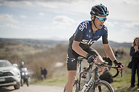 Diego Rosa (ITA/Sky) is the last man standing of the original 4-man breakaway<br /> <br /> 13th Strade Bianche 2019 (1.UWT)<br /> One day race from Siena to Siena (184km)<br /> <br /> ©kramon