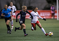 Seattle, WA - Saturday March 24, 2018: Jessica Fishlock, Mallory Pugh during a regular season National Women's Soccer League (NWSL) match between the Seattle Reign FC and the Washington Spirit at the UW Medicine Pitch at Memorial Stadium.