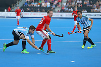 England's David Goodfield in action during the Hockey World League Semi-Final match between England and Argentina at the Olympic Park, London, England on 18 June 2017. Photo by Steve McCarthy.