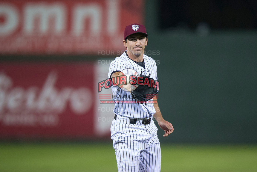 Idaho Falls Chukars relief pitcher Ted Cillis (24) during a Pioneer League game against the Billings Mustangs at Melaleuca Field on August 22, 2018 in Idaho Falls, Idaho. The Idaho Falls Chukars defeated the Billings Mustangs by a score of 5-3. (Zachary Lucy/Four Seam Images)