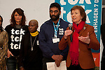 Mary Robinson speaks at a meeting of civil society and the UNFCCC. Civil Society handed over a sail that signified the co-operation that civil society has worked on throughout the year for a real deal in Copenhagen. (Images free for Editorial Web usage for Fresh Air Participants during COP 15. Credit: Robert vanWaarden)