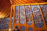 Illuminated Interior of Stained Glass Windows in the Joan of Arc Church in Rouen; France; Normandy