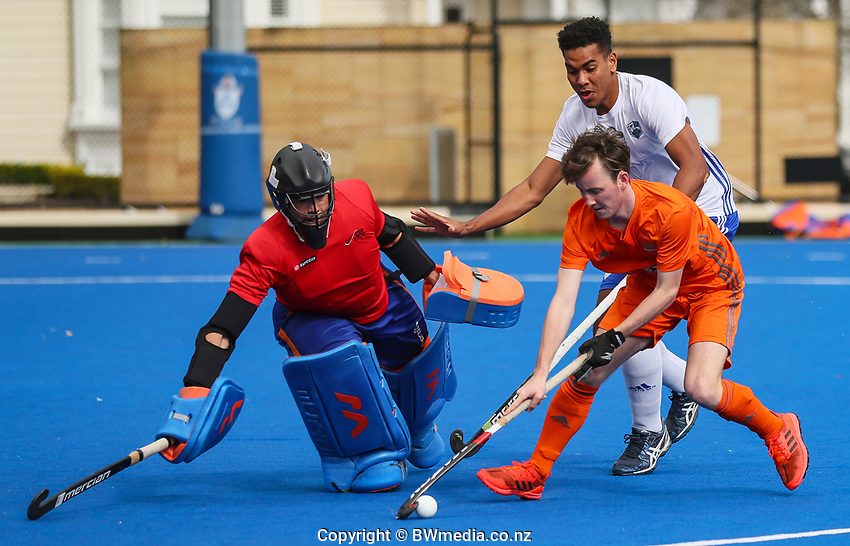 Action from the NHL men's warmup match between Auckland and Midlands at Diocesan School for Girls in Auckland, New Zealand on Sunday, 11 August 2019. Photo: Simon Watts / bwmedia.co.nz