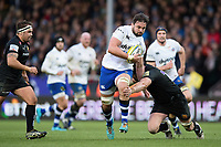 Elliott Stooke of Bath Rugby takes on the Exeter Chiefs defence. Aviva Premiership match, between Exeter Chiefs and Bath Rugby on December 2, 2017 at Sandy Park in Exeter, England. Photo by: Patrick Khachfe / Onside Images