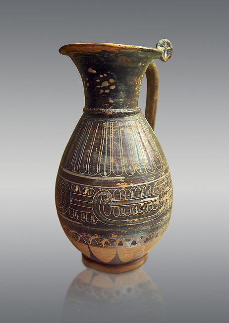 580 - 560 B.C olpai style jug made by the Etrusco-Corinthian Group of Palmette Fenicie, inv 71019,   National Archaeological Museum Florence, Italy , against grey