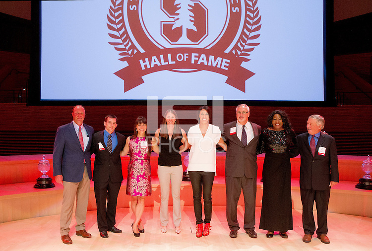 STANFORD, CA - OCTOBER 16, 2015—The inductees in the 2015 Stanford Athletics Hall of Fame Induction Ceremony at the Bing Concert Hall .
