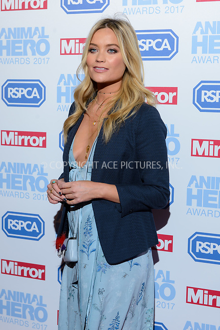 www.acepixs.com<br /> <br /> September 7 2017, London<br /> <br /> Laura Whitmore attending the Animal Hero Awards 2017 on at the Grosvenor Hotel on September 7 2017 in London<br /> <br /> By Line: Famous/ACE Pictures<br /> <br /> <br /> ACE Pictures Inc<br /> Tel: 6467670430<br /> Email: info@acepixs.com<br /> www.acepixs.com