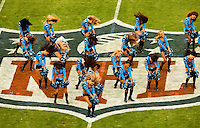 The TopCats, cheerleaders for the Carolina Panthers, rally the crowds at Bank of America Stadium in Charlotte, NC. Photo from the Carolina Panthers' 20-9 loss to the Buffalo Bills in Charlotte on Sunday, Oct. 25, 2009. Professional American NFL football team The Carolina Panthers represents North Carolina and South Carolina from its hometown of Charlotte, NC. The Carolina Panthers are members of the NFL's National Football Conference South Division. The Charlotte professional football team began playing in Charlotte in 1995 as an expansion team.  The Carolina Panthers play in Bank of America Stadium, formerly known as Carolinas Stadium and Ericsson Stadium.