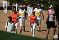Orange t-shirts in abundance in support of Joost Luiten (NED) and of course Team Sulli rooting for Andy Sullivan (ENG) during the Final Round of the 2016 Omega Dubai Desert Classic, played on the Emirates Golf Club, Dubai, United Arab Emirates.  07/02/2016. Picture: Golffile | David Lloyd<br /> <br /> All photos usage must carry mandatory copyright credit (&copy; Golffile | David Lloyd)