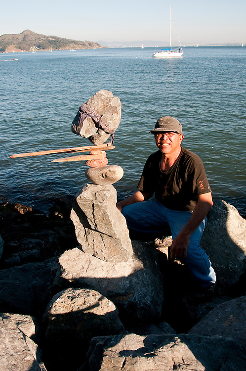 California; Sausalito; rock balance artist; Bill Dan; waterfront; sculptor; sculpture, USA.  Photo copyright Lee Foster.  Photo # california107978