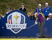 24.09.2014. Gleneagles, Auchterarder, Perthshire, Scotland.  The Ryder Cup.  Henrik Stenson (EUR) on the 9th tee during his practice round.