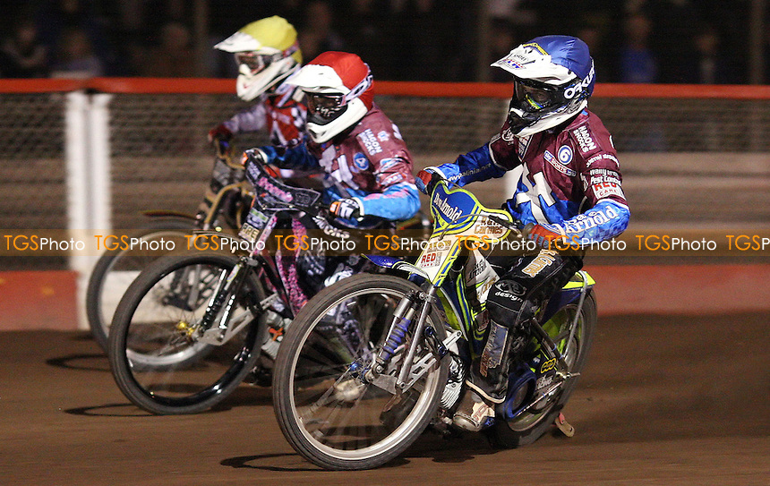 Heat 14: Justin Sedgmen (blue), Robert Mear (blue) and Linus Eklof (yellow) - Lakeside Hammers vs Belle Vue Aces, Elite League at the Arena Essex Raceway, Pufleet - 30/03/12 - MANDATORY CREDIT: Rob Newell/TGSPHOTO - Self billing applies where appropriate - 0845 094 6026 - contact@tgsphoto.co.uk - NO UNPAID USE..