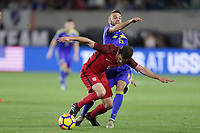 Carson, CA - Sunday January 28, 2018: Wil Trapp, Elvis Sarić during an international friendly between the men's national teams of the United States (USA) and Bosnia and Herzegovina (BIH) at the StubHub Center.