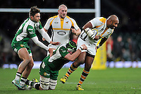 Sailosi Tagicakibau of Wasps is tackled by Eoin Sheriff of London Irish. Aviva Premiership match, between London Irish and Wasps on November 28, 2015 at Twickenham Stadium in London, England. Photo by: Patrick Khachfe / JMP