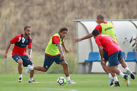 Getafe CF's Sergio Mora,  Damian Suarez and Cata Diaz during training session. August 1,2017.(ALTERPHOTOS/Acero) /NortePhoto.com