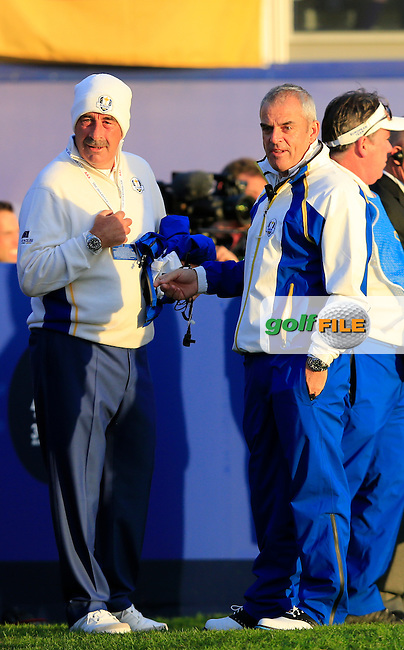 Sam Torrance and Paul McGinley at the 1st tee during the Saturday Fourball Matches of the Ryder Cup at Gleneagles Golf Club on Saturday 27th September 2014.<br /> Picture:  Thos Caffrey / www.golffile.ie