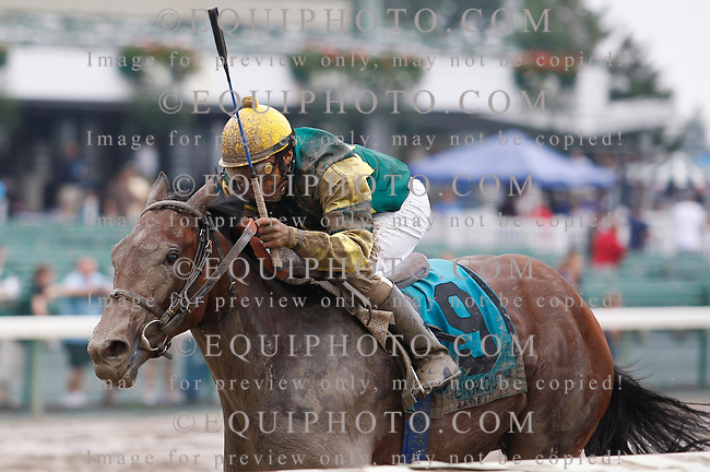 Kid Kate #9 with Elvis Trujillo riding won the $60,000 Junior Champion Stakes at Monmouth Park in Oceanport, N.J.  Photo By Bill Denver/EQUI-PHOTO