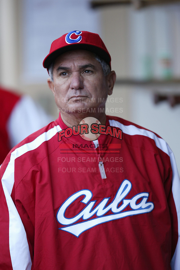 Higinio Velez, manager of the Cuban national team, during game against the Dominican Republic team during the World Baseball Championships at Petco Park in San Diego,California on March 18, 2006. Photo by Larry Goren/Four Seam Images