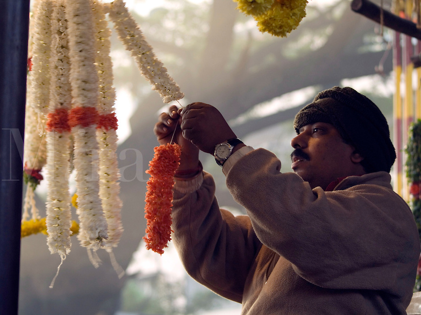 Flower vendor at work in Bangalore, Karnataka, India