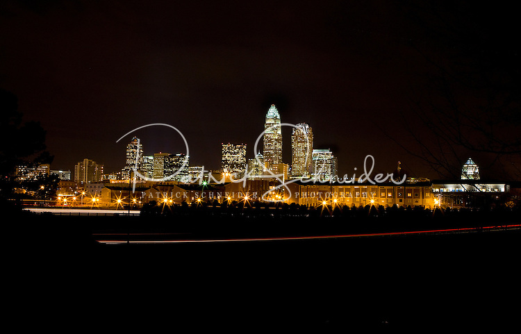 Charlotte's striking skyline at night.