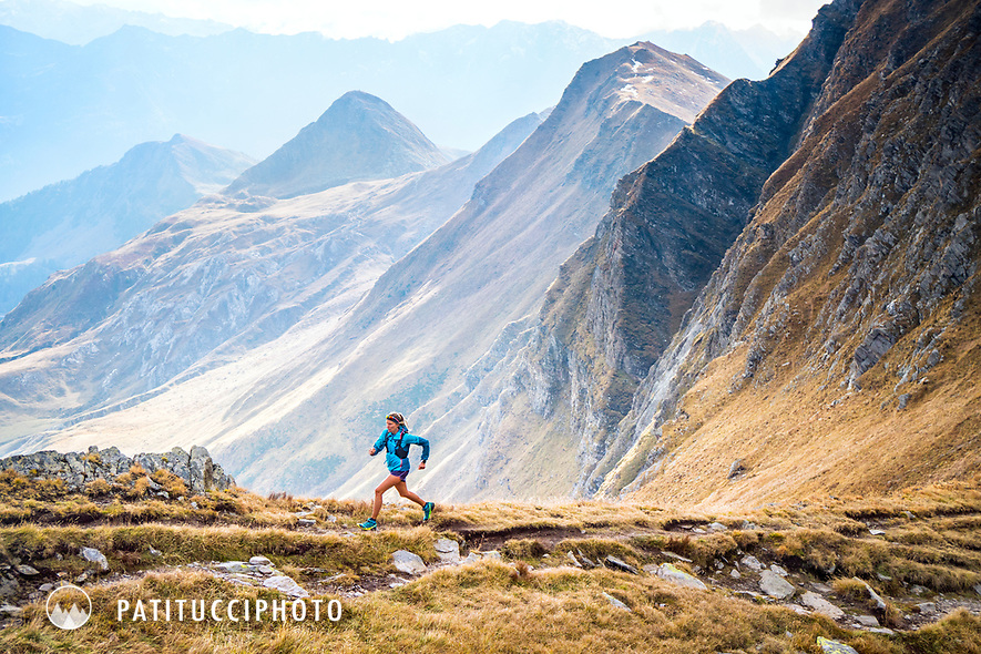 Trail running in the Ritom Lake area of the Ticino, Switzerland