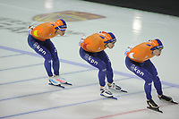 SPEEDSKATING: CALGARY: Olympic Oval, 02-12-2017, ISU World Cup, Team Pursuit Men, Koen Verweij (NED), Jan Blokhuijsen (NED), Sven Kramer (NED), ©photo Martin de Jong
