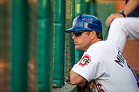 Chattanooga Lookouts manager Doug Mientkiewicz (16) looks on during a game between the Jackson Generals and Chattanooga Lookouts at AT&T Field on May 7, 2015 in Chattanooga, Tennessee. (Brace Hemmelgarn/Four Seam Images)