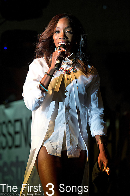 Estelle performs during the 2014 Essence Festival at the Mercedes-Benz Superdome in New Orleans, Louisiana.