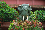 ELEPHANT STATUE IN GARDEN AT CAMBODIA'S NATIONAL MUSUEM
