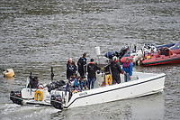 Putney, London,  Tideway Week, Championship Course. River Thames, Umpires Launch, &quot;Ecocat&quot; OUBC VS CUBC, Veterans Boat Race. <br /> <br />  Saturday  01/04/2017<br /> <br /> [Mandatory Credit; Credit: Peter SPURRIER/Intersport Images.com ]