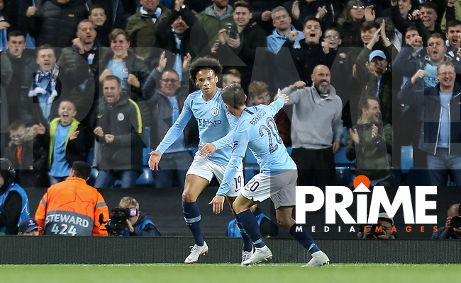 Bernardo BERNADO SILVA celebrates his goal with Leroy SANE of Manchester City during the UEFA Champions League match between Manchester City and Olympique Lyonnais at the Etihad Stadium, Manchester, England on 19 September 2018. Photo by David Horn / PRiME Media Images.