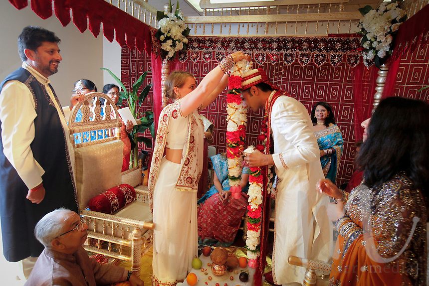 Indian wedding ceremonies of Gopal Parekh and Joanna Bell held in Durga Temple on Saturday, August 20, 2011.