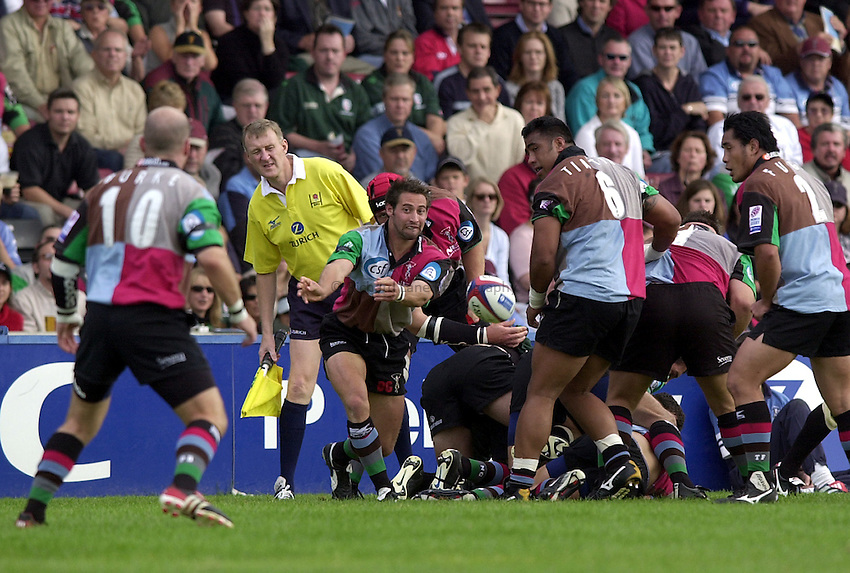 Photo. Richard Lane.NEC Harlequins v London Irish. Zurich Premiership. 21-09-2002.Ben Gollings gets the ball away.