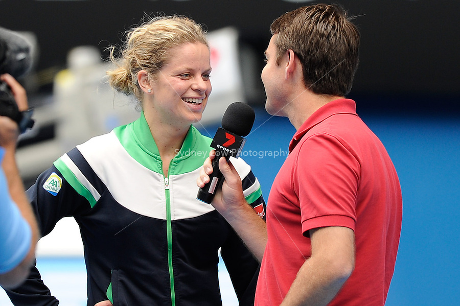 MELBOURNE, 26 JANUARY - Kim Clijsters (BEL) conducts a post match interview after her quarter final match against Agnieszka Radwanska (POL) on day ten of the 2011 Australian Open at Melbourne Park, Australia. (Photo Sydney Low / syd-low.com)