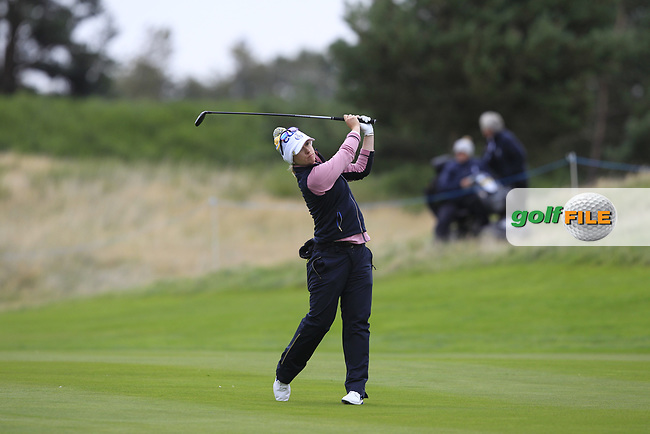 Jodi Ewart Shadoff of Team Europe on the 2nd fairway during Day 2 Fourball at the Solheim Cup 2019, Gleneagles Golf CLub, Auchterarder, Perthshire, Scotland. 14/09/2019.<br /> Picture Thos Caffrey / Golffile.ie<br /> <br /> All photo usage must carry mandatory copyright credit (© Golffile   Thos Caffrey)