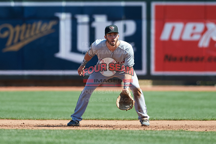 Wisconsin Timber Rattlers first baseman David Fry (10) during a Midwest League game against the Great Lakes Loons at Dow Diamond on May 4, 2019 in Midland, Michigan. Great Lakes defeated Wisconsin 5-1. (Zachary Lucy/Four Seam Images)